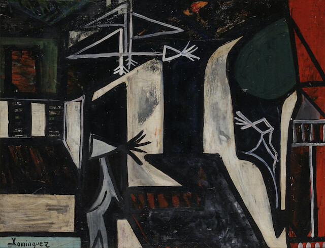 Óscar Domínguez, Strollers in the city , 1950