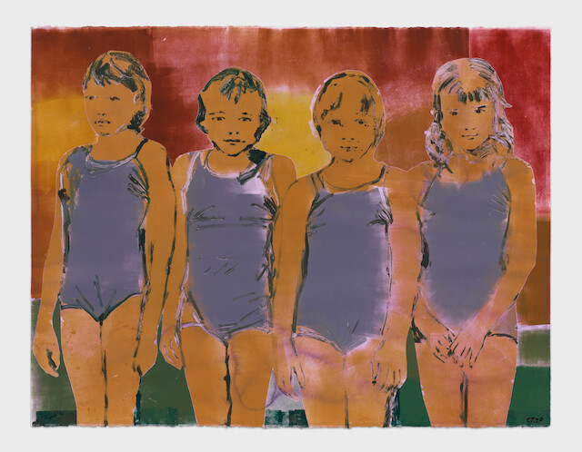 Claire Tabouret, Four Swimmers (purple), 2020